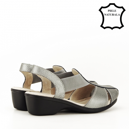Sandale gri metalizat din piele naturala Codruta3