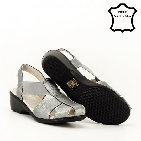 Sandale gri metalizat din piele naturala Codruta5