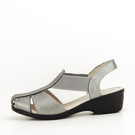 Sandale gri metalizat din piele naturala Codruta0