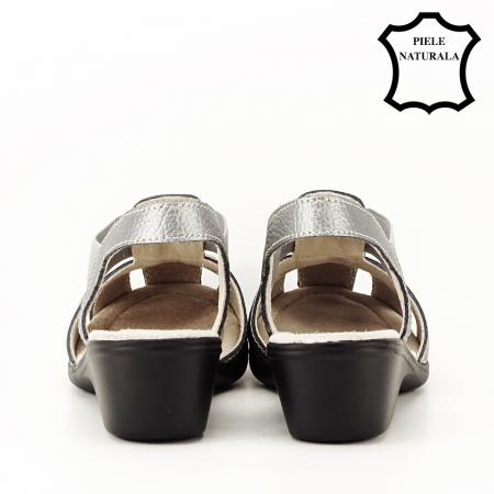 Sandale gri metalizat din piele naturala Codruta4