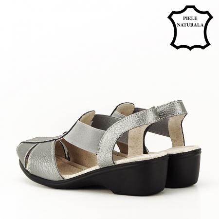 Sandale gri metalizat din piele naturala Codruta7