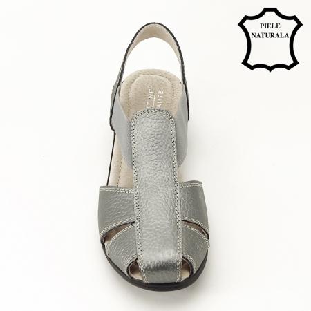 Sandale gri metalizat din piele naturala Codruta2