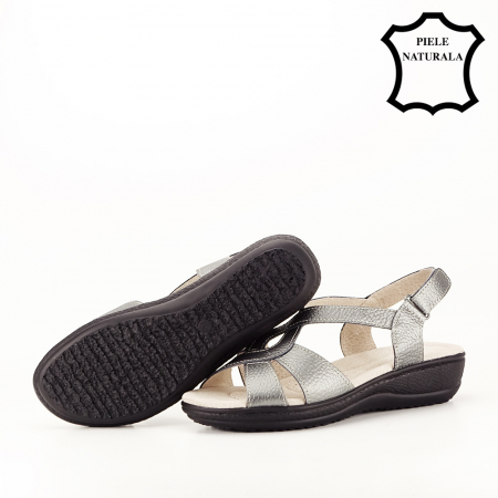 Sandale gri metalizat din piele naturala Mabel [5]