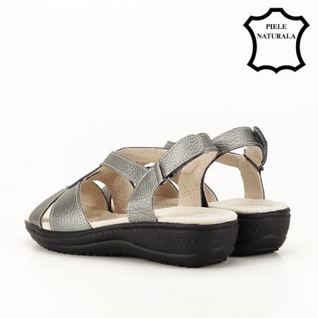 Sandale gri metalizat din piele naturala Mabel [4]