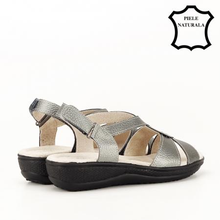 Sandale gri metalizat din piele naturala Mabel [2]