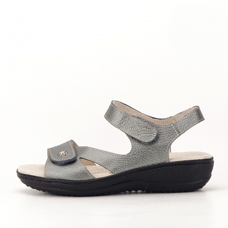 Sandale gri metalizat din piele naturala Sara [0]