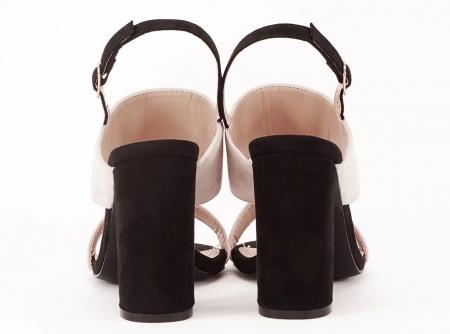 Sandale dama in doua culori negru si bej cu toc gros Casiana [4]