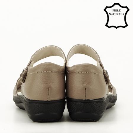 Sandale maro deschis din piele naturala Agata4