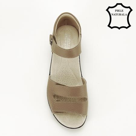 Sandale maro deschis din piele naturala Agata2