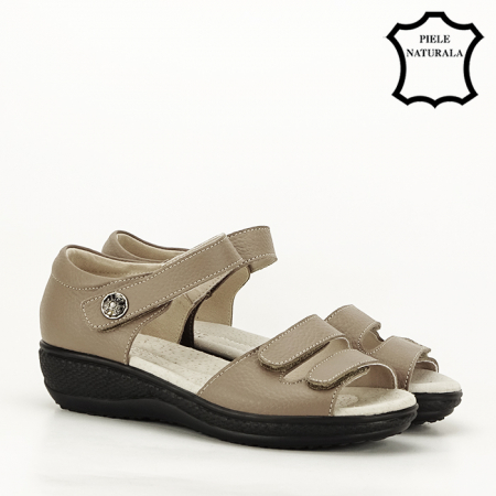 Sandale maro deschis din piele naturala Agata6
