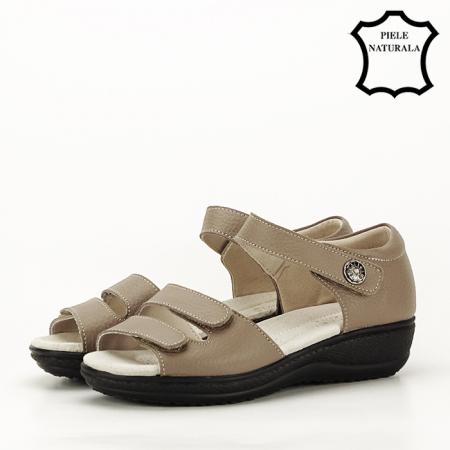 Sandale maro deschis din piele naturala Agata1