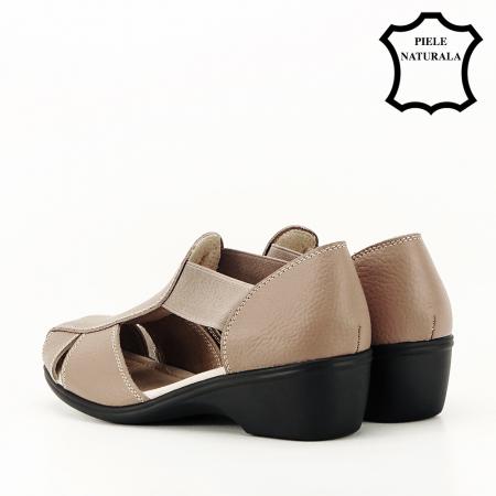 Sandale maro deschis din piele naturala Calypso7