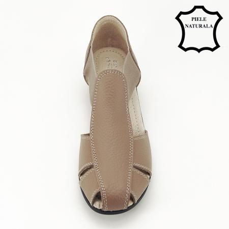 Sandale maro deschis din piele naturala Calypso2