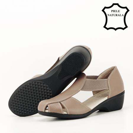 Sandale maro deschis din piele naturala Calypso4