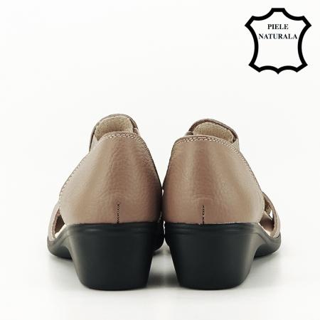 Sandale maro deschis din piele naturala Calypso5