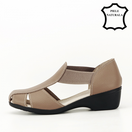 Sandale maro deschis din piele naturala Calypso1