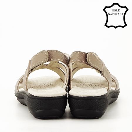 Sandale maro deschis din piele naturala Mabel5