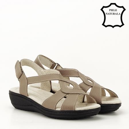 Sandale maro deschis din piele naturala Mabel2