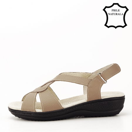 Sandale maro deschis din piele naturala Mabel1