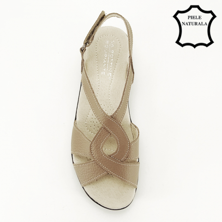 Sandale maro deschis din piele naturala Mabel7