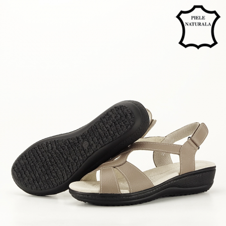 Sandale maro deschis din piele naturala Mabel3