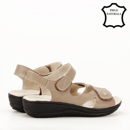 Sandale maro deschis din piele naturala Sara6