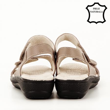Sandale maro deschis din piele naturala Sara5