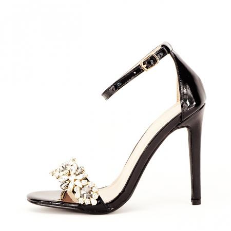 Sandale negre decorate cu pietre Gloria [1]