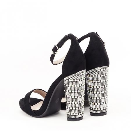 Sandale negre cu pietricele pe toc Cleopatra [4]