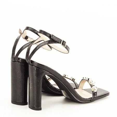 Sandale negre cu imprimeu Lola [6]