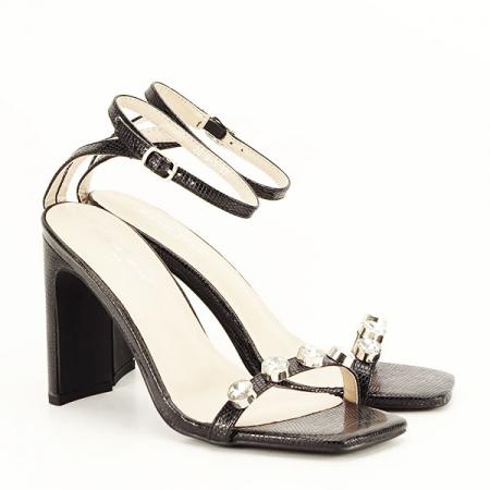 Sandale negre cu imprimeu Lola [2]