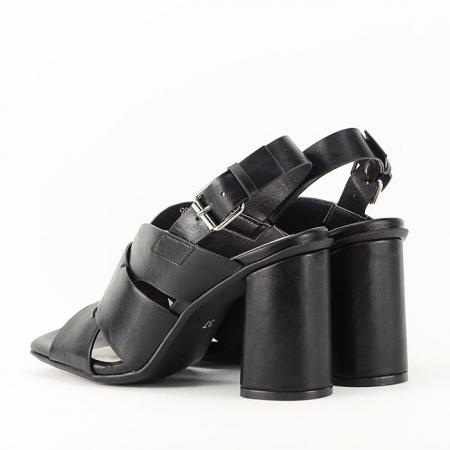 Sandale negre cu toc gros Amalia7