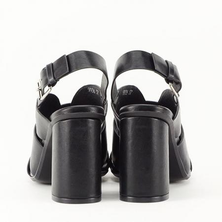 Sandale negre cu toc gros Amalia6