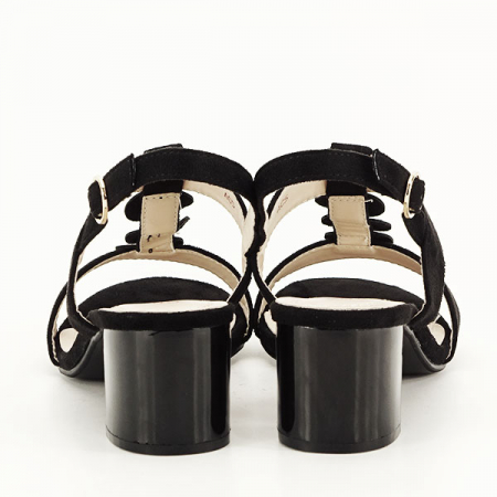 Sandale negre cu toc gros Sabrina [5]