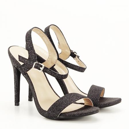Sandale negre cu toc inalt Mia [2]