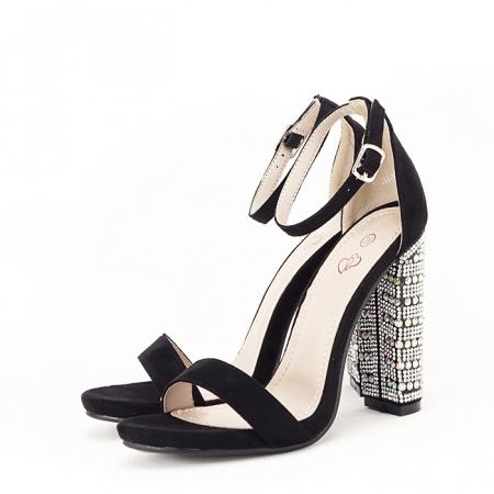 Sandale negre cu pietricele pe toc Cleopatra [1]