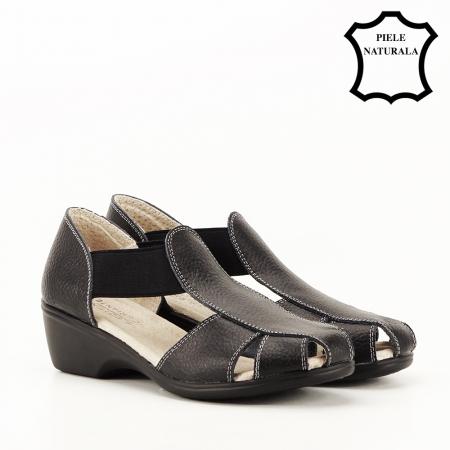 Sandale negre din piele naturala Calypso7
