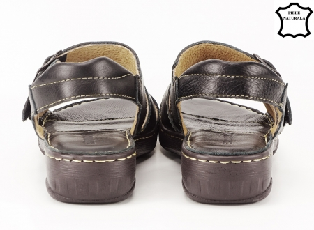 Sandale negre din piele naturala Lucky4