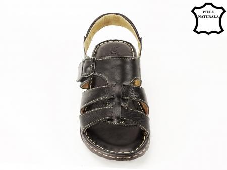 Sandale negre din piele naturala Lucky5