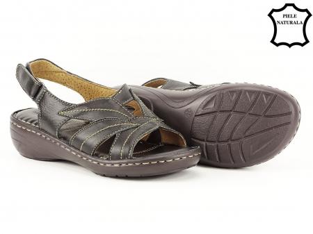 Sandale negre din piele naturala Mona4