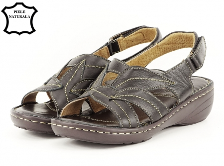 Sandale negre din piele naturala Mona2