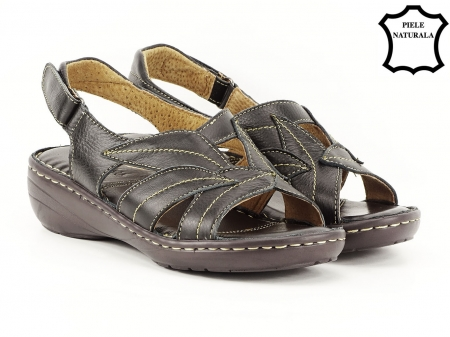 Sandale negre din piele naturala Mona1