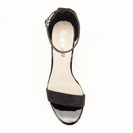 Sandale negre elegante cu sclipici Simona [2]