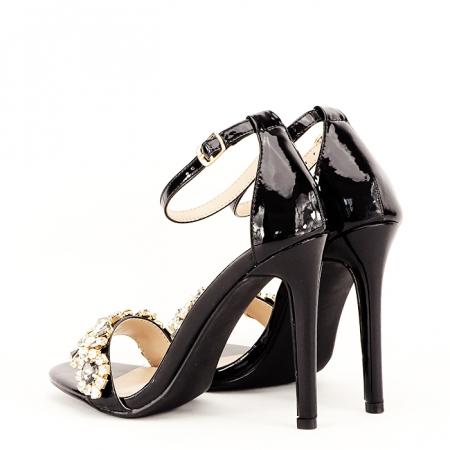 Sandale negre decorate cu pietre Gloria [4]