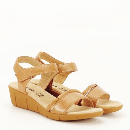 Sandale piele naturala maro deschis Mara [3]