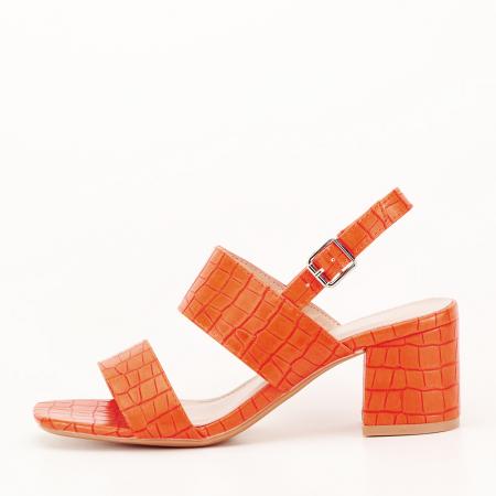 Sandale portocalii cu toc mic Edith0