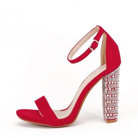 Sandale rosii cu pietricele pe toc Cleopatra [0]