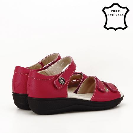 Sandale rosii din piele naturala Agata3