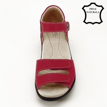Sandale rosii din piele naturala Agata2