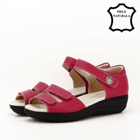 Sandale rosii din piele naturala Agata1